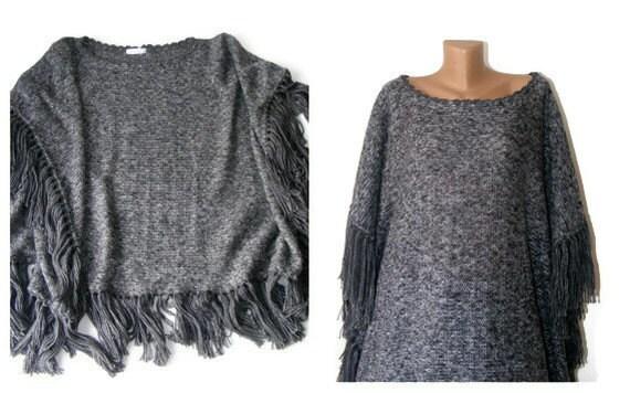 gray poncho,gray black,women shawl,fashion,warm,soft,tricot fabric,winter,spring,all seasons accessories,by seno