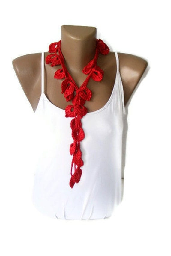 fashion Red leaves Hand Crochet Lariat Scarf,fashion accessories ,for her,gifts idea,crochet necklace,summertime