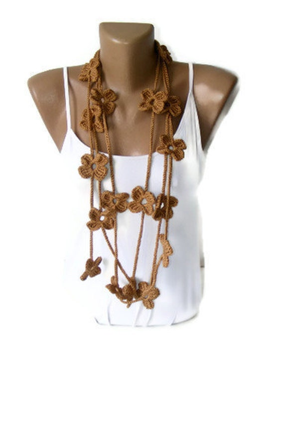 women scarf, Crochet Brown Flower Lariat Scarf, Fashion Flower Scarves, Necklace, hand crocheted scarves