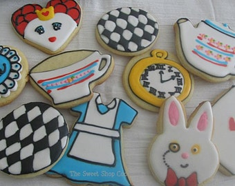 2 dozen Alice in Wonderland themed cookies