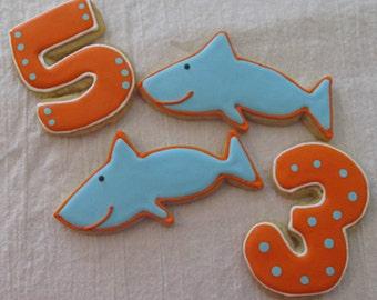 Shark Party Cookies 3 dozen