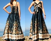Dark Green Floral Evening Long Dress Prom Bridesmaid Women Maxi Dress Summer Sundress