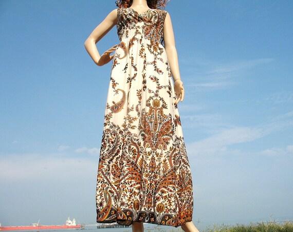 New Lovely Sexy Orange Deep-V Maxi Floral Beach Summer Long Dress S M L Free Earring