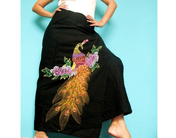 50% SALES Women Maxi Skirt Black Wrap Skirt Hand Painted Art Hippie Long Skirt: Birthday Gifts Ideas
