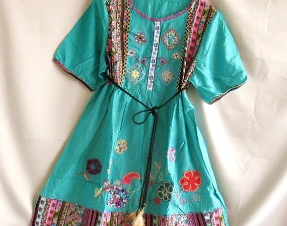 Tunic Dress Women Tank Top Shirt Blouse Kaftan Caftan Embroidered / Hippie Short Dress