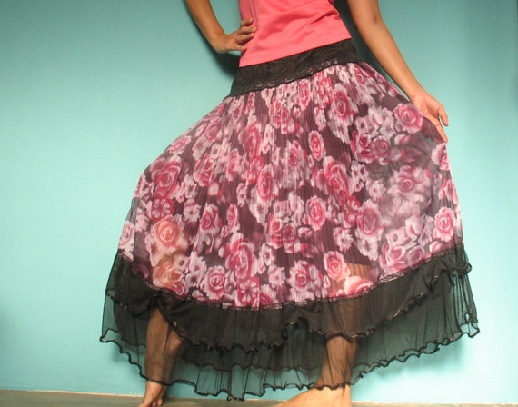Romance Purple Rose Maxi Skirt .... Flowing Circle Women Long Skirt - Perfect Birthday Gift