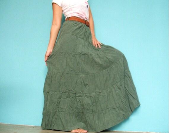 Dark Green Women Maxi Skirt ...... Inspiration Flowing Circle Long Skirt - Perfect Christmas Gift