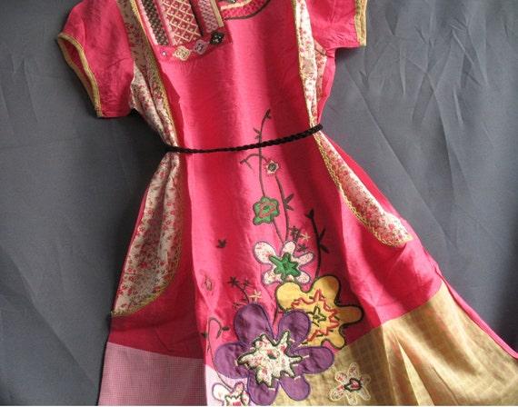 Women Shirt Top Caftan Kaftan Tunic With Two Pockets Pink Floral Blouse/ Short Dress