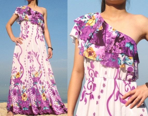 Purple Floral Evening Dress One Shoulder Maxi Dress Sundress / Wedding Bridesmaid Dress