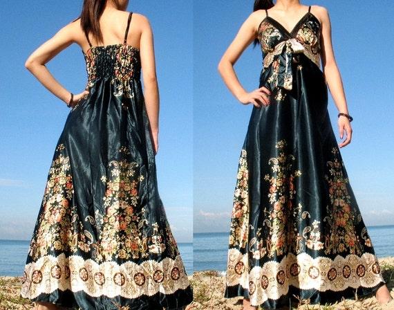 Dark Green Floral Evening Long Dress Prom Bridesmaid Women Maxi Dress Summer Sundress