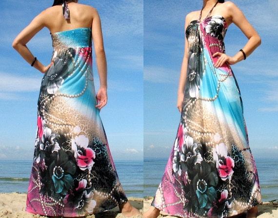 Sky Blue Halter Dress Romance Long Maxi Dress Evening Dress Floral Sundress/ Bridesmaid dress