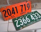 Vintage License Plates Illinois 1952 And 1954