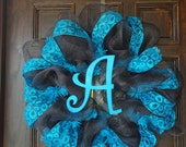 Turquoise and Brown Deco Mesh Initial Wreath