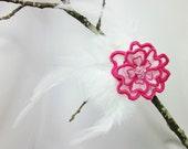 Feather Fascinator Pink White Embroidered Organza Flower Swarovski Crystal Embellished