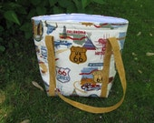 SALE - MARKED DOWN - Insulated Lunch Bag/Tote - Quilted -  Route 66