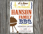 Printable BBQ Barbecue Invitation Family Reunion