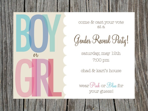 Items similar to Gender Reveal Party Invitation Printable on Etsy – Gender Reveal Party Invitations