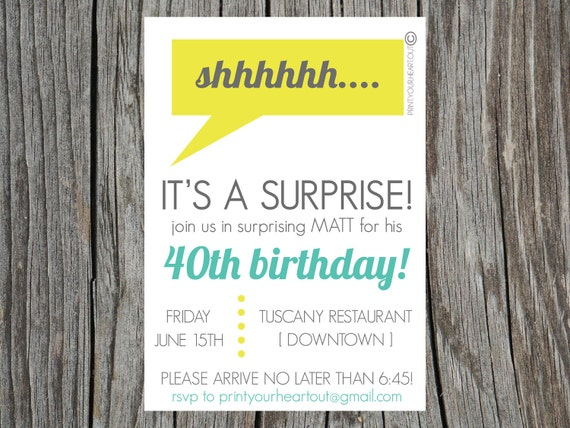 Items similar to Printable Surprise Party Invitations Neon Modern ...