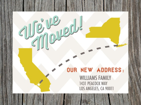 Printable Moving Announcement Card Chevron States