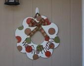 Hand-painted Wooden Door Decor Thanksgiving Wreath
