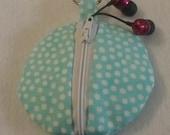 Keyring earbud case zipper pouch aqua polka dots