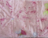 Pink Ballerina Slippers and Fairies Baby Girl Crib Quilt