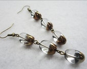 Two Tone Glass Beads Earrings (Clear & Brown)