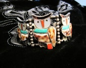 Reserved for Merissa  ON SALE - Exquisitely Crafted Native Sterling Silver Owl Cuff Bracelet - Coral, Jet, Turquoise, Shell