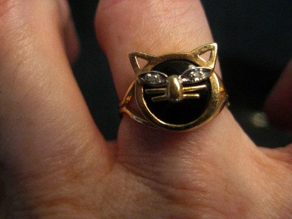 On Hold for tessaboo - Black Onyx Cat Ring with Diamond Eyes - 10 Karat Gold
