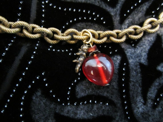 Reserved - ON SALE - Lovely Antiqued Gold Metal Rope Linked Bracelet with Cherub and Red Glass Heart
