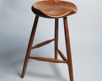 "GARNY -  All Cherry Tripod Stool  22"" - for guitar players, for art studio, for kitchen or office, for computer table,"
