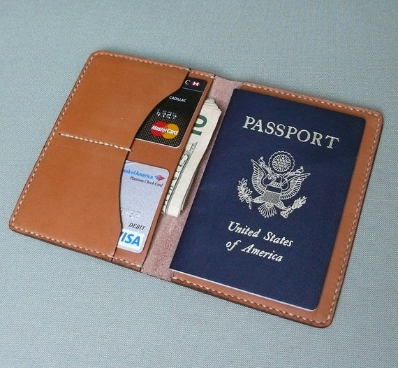 GARNY - Passport Case, Travel Wallet - Hand Stitched Tan Leather - ap