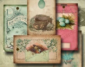 Vintage Easter Eggs Hang Tags-Digital Collage Sheet-hang tags gift tags scrapbooking altered art craft supplies nest bird spring