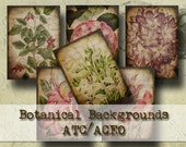 Botanical Backgrounds ATC/ACEO - Digital Collage Sheet (ATC14)