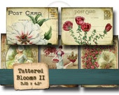 Tattered Blooms No.2 - Digital Collage Sheet