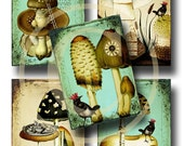 Whimsical Mushrooms ATC - Enchanted Forest II - Digital Collage Sheet