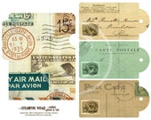 Vintage Airmail Journal Pocket and Tags