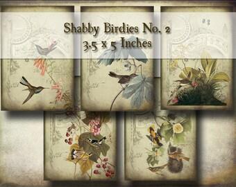 Shabby Chic Bird Hang Tags No. 2 - Digital Collage Sheet