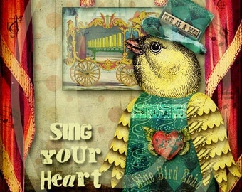 Printable 5 x 7 Bird Collage - Sing Your Heart Song - Digital Download