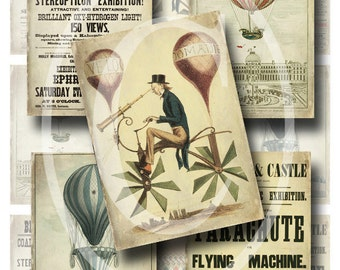 Vintage Balloon Ephemera ATC/ACEO- Digital Collage Sheet