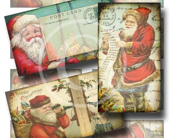 Vintage Santa Mini Hang Tags - Digital Collage Sheets