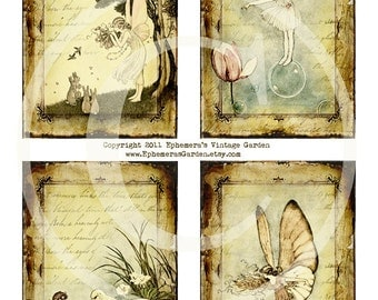 Child Fairy Hang Tags - Digital Collage Sheet