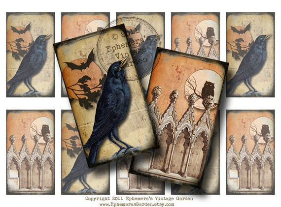 Gothic Raven - Halloween Hang Tags/Stickers - Digital Collage Sheet