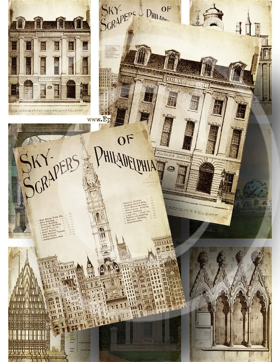 Vintage Architecture ATC - Digital Collage Sheet