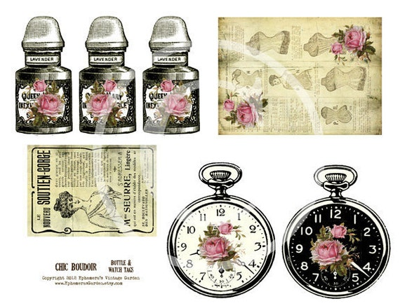 Shabby Chic Perfume and Watch Tags - printable journal add-ons