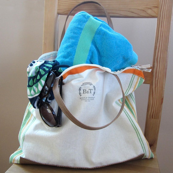 Elegant, beach, cotton tote, handmade, zipper closure, beach tote , mother's day, grocery tote, dishtowel, leather, orange