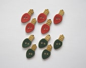 Christmas Light Bulb Buttons - Handcrafted Stoneware - Made in Maine by Caryn Burwood of Concepts In Clay