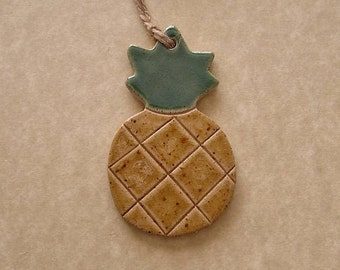 Pineapple Ornament - Stoneware - Made In Maine by Caryn Burwood of Concepts In Clay