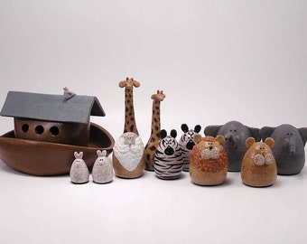 Noah's Ark Set - Wheel Thrown Stoneware Figurines -  Made in Maine by Caryn Burwood of Concepts In Clay