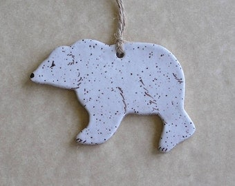 Polar Bear Ornament - Stoneware - Made In Maine by Caryn Burwood of Concepts In Clay